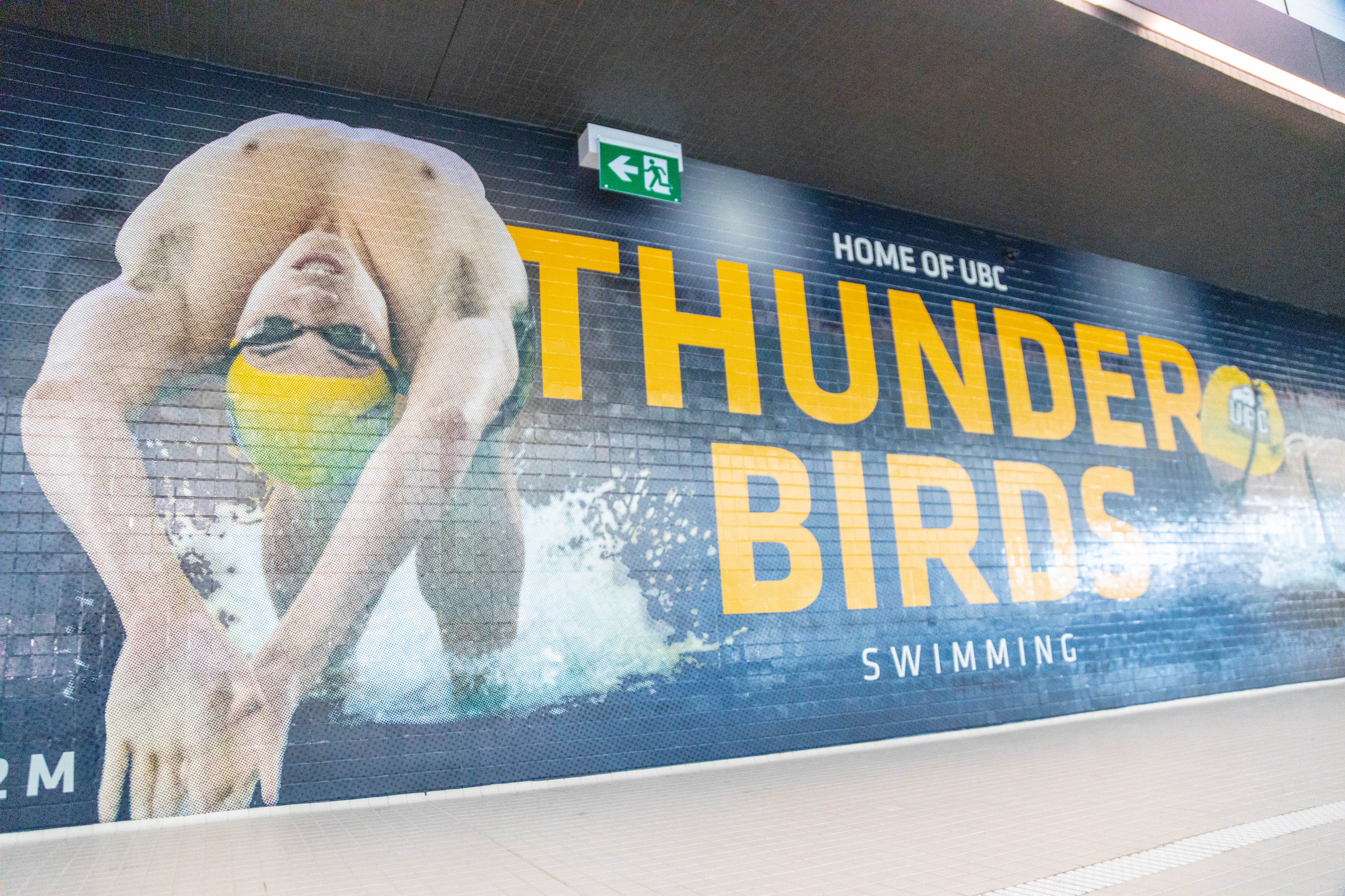 The feature wall for UBC's swim team at the Aquatic Centre.