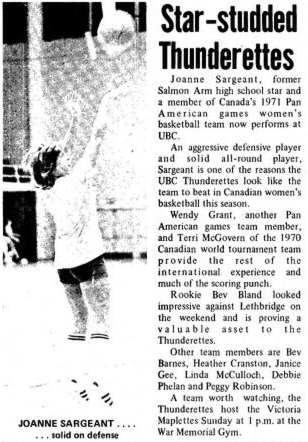 A 1971 Ubyssey article about Sargent and the women's basketball team