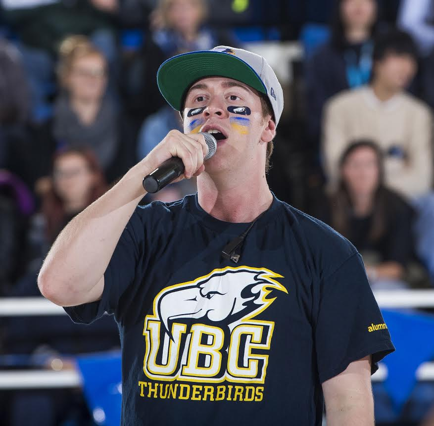 Nico McEown has been the voice behind the hype at a range of UBC games from Basketball to Ice Hockey
