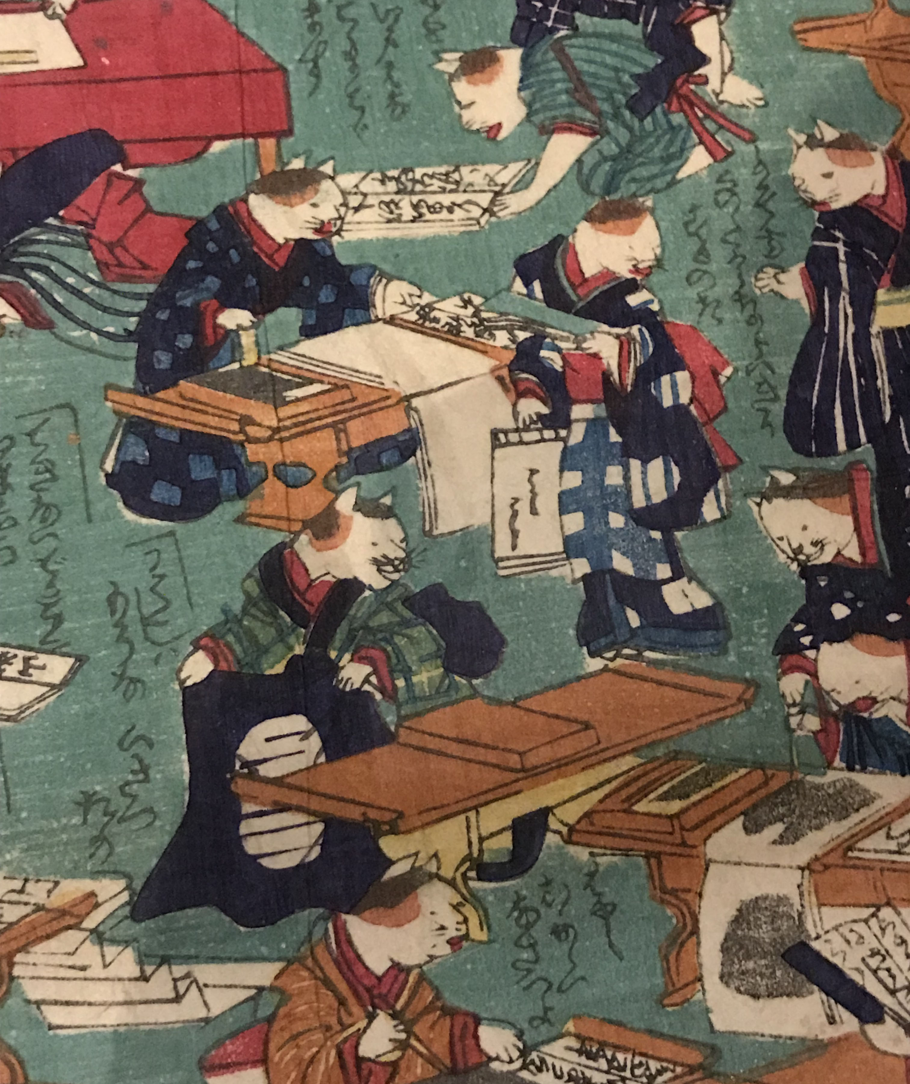 This particular print depicts a busy classroom scene with cats practicing calligraphy.
