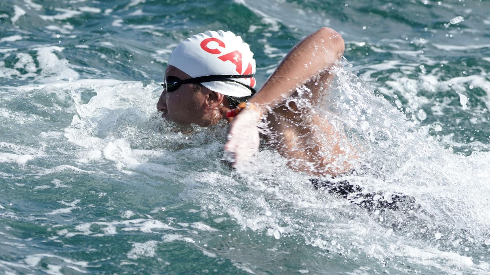 Fan in action during an open water race