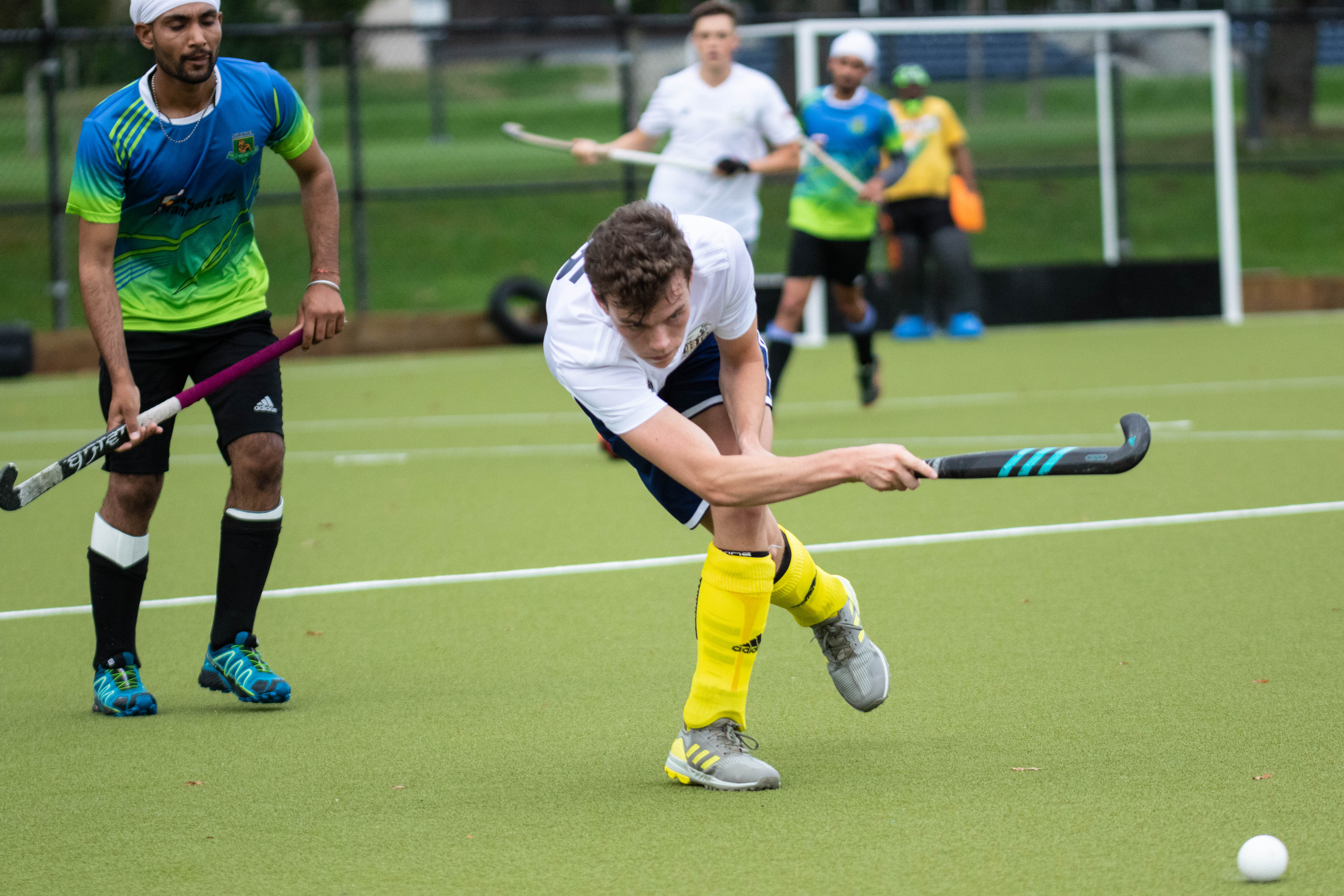 Second-year defender Cole Hendy makes a pass at Sunday's game.