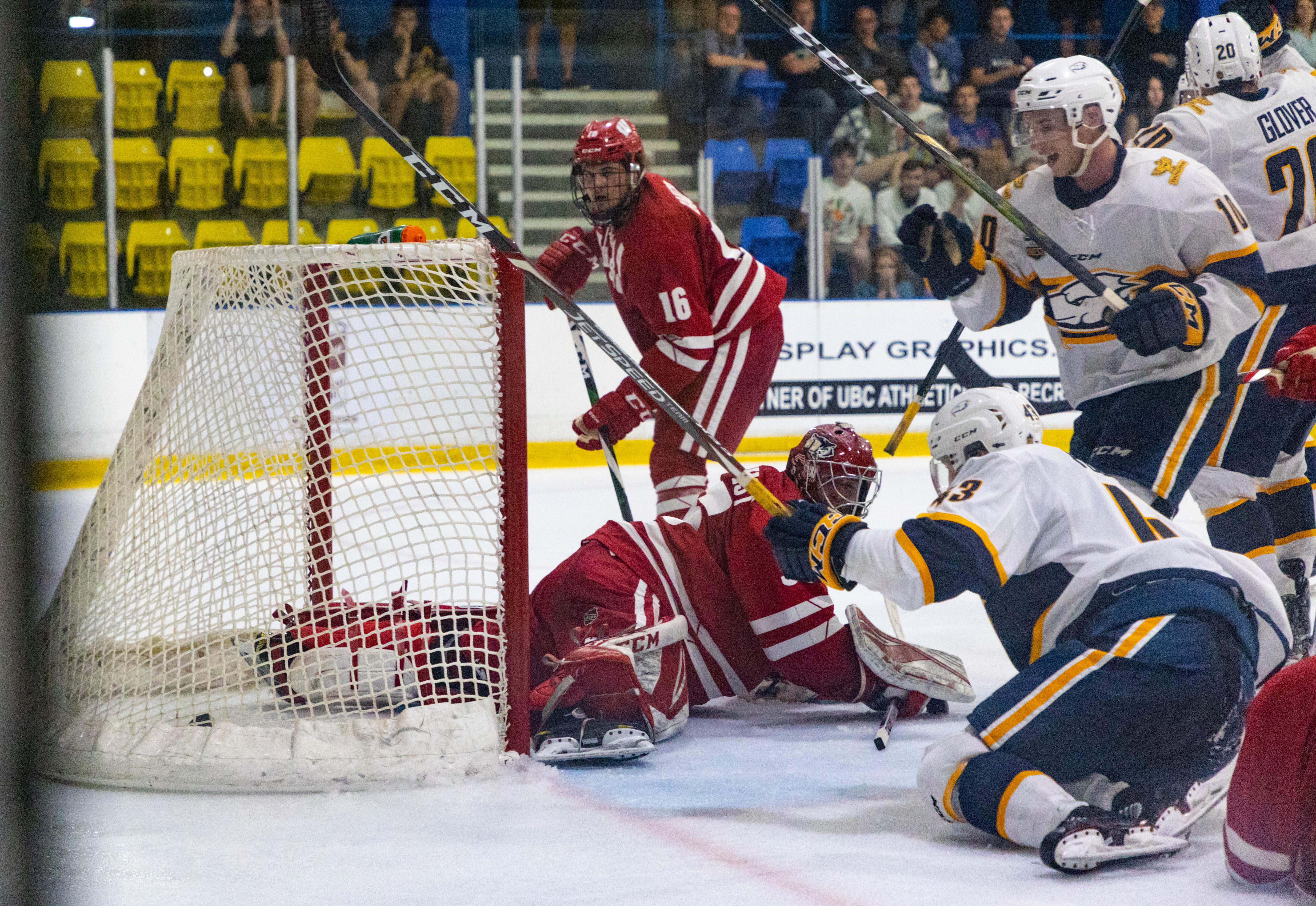 The Thunderbirds celebrate getting one past the Badgers netminder in the third period