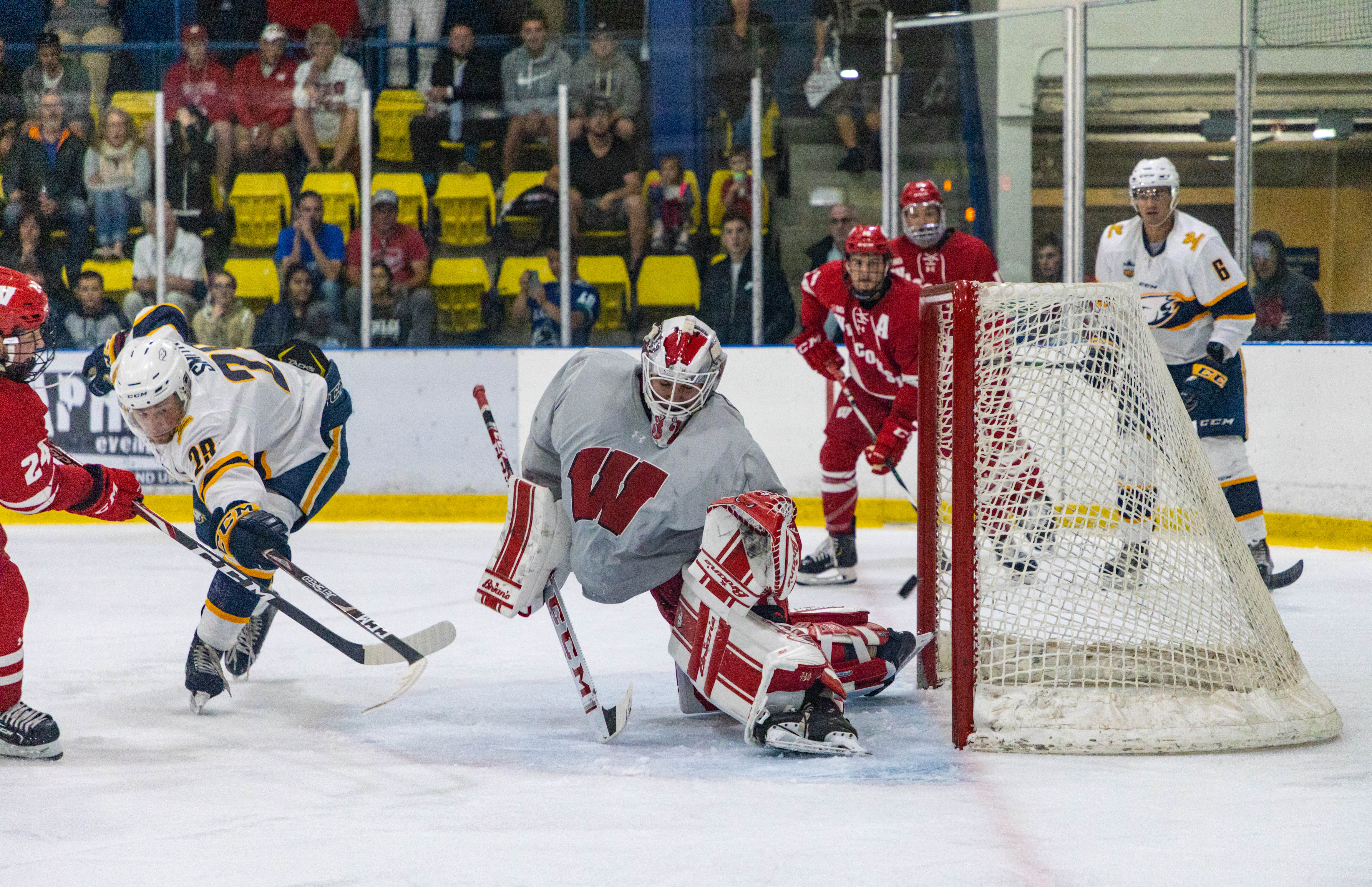 The Badgers score against temporary Thunderbird keeper Daniel Lebedeff