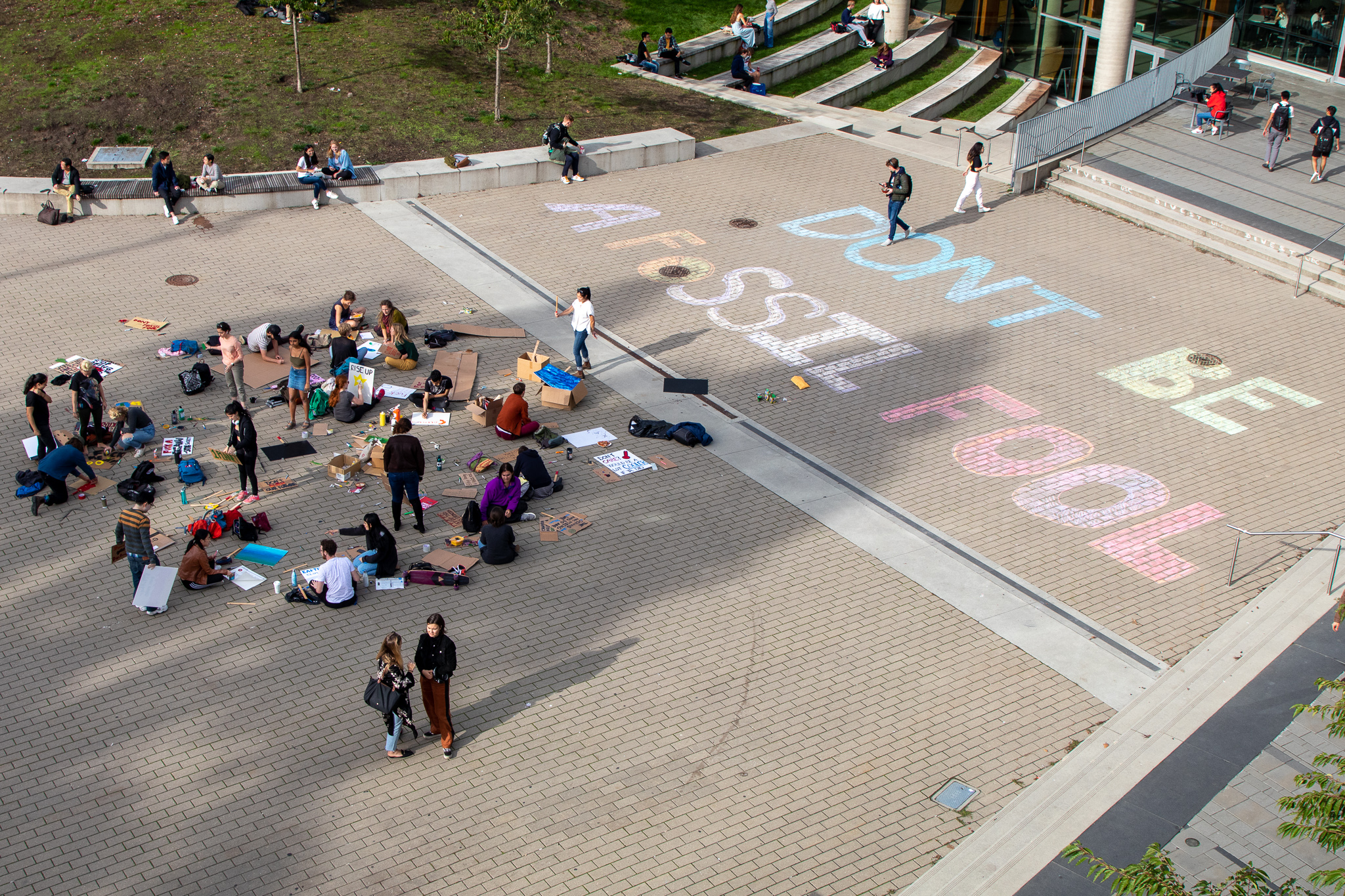 UBCC350 held a sign-making session on Tuesday afternoon outside the Nest.