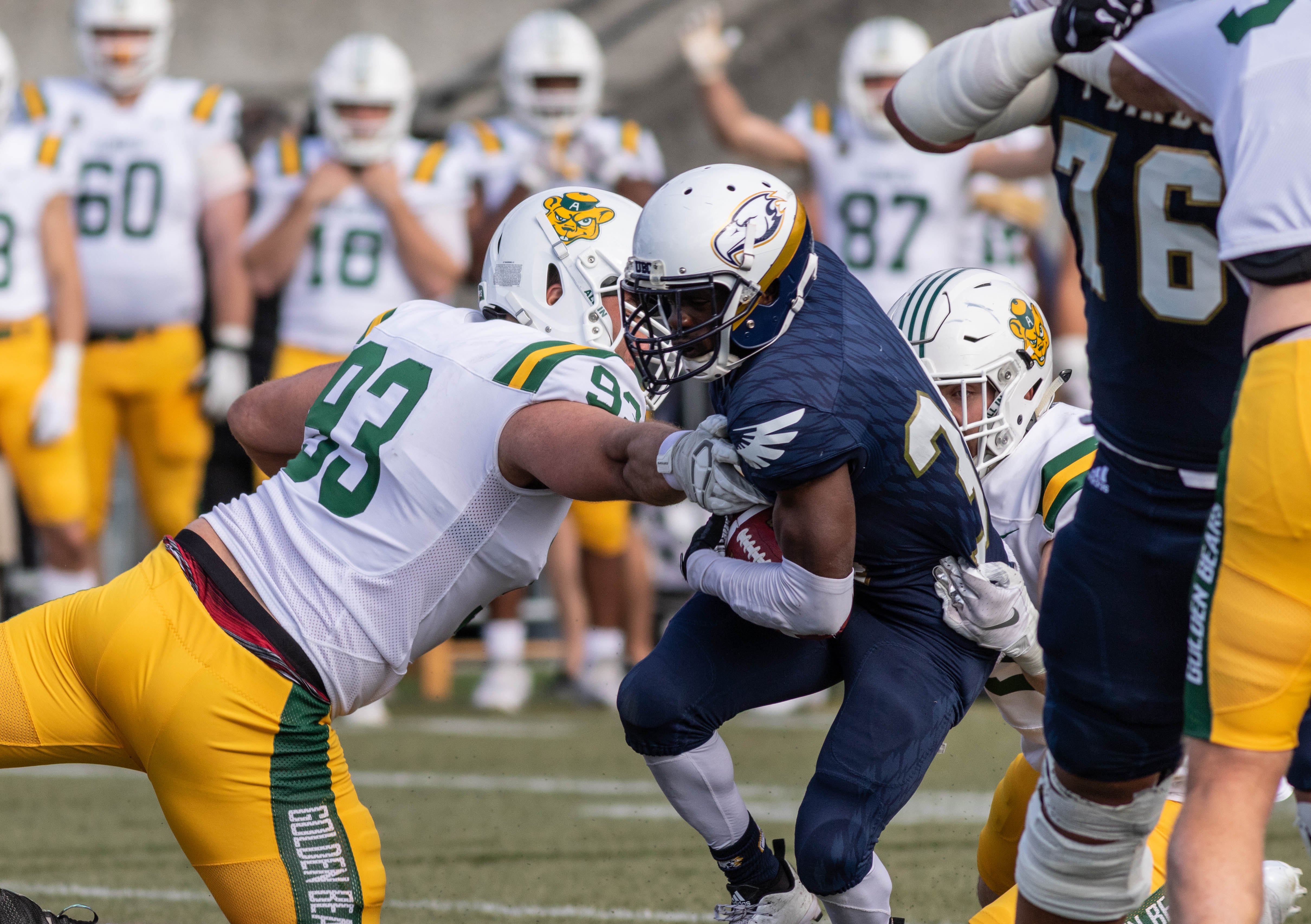 The T-Birds found ways to get past the undefeated Golden Bears' defence throughout the game.