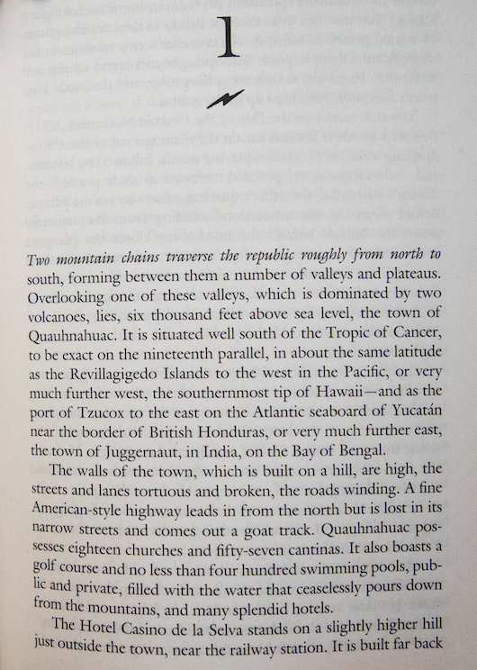 First page of current edition of Under the Volcano