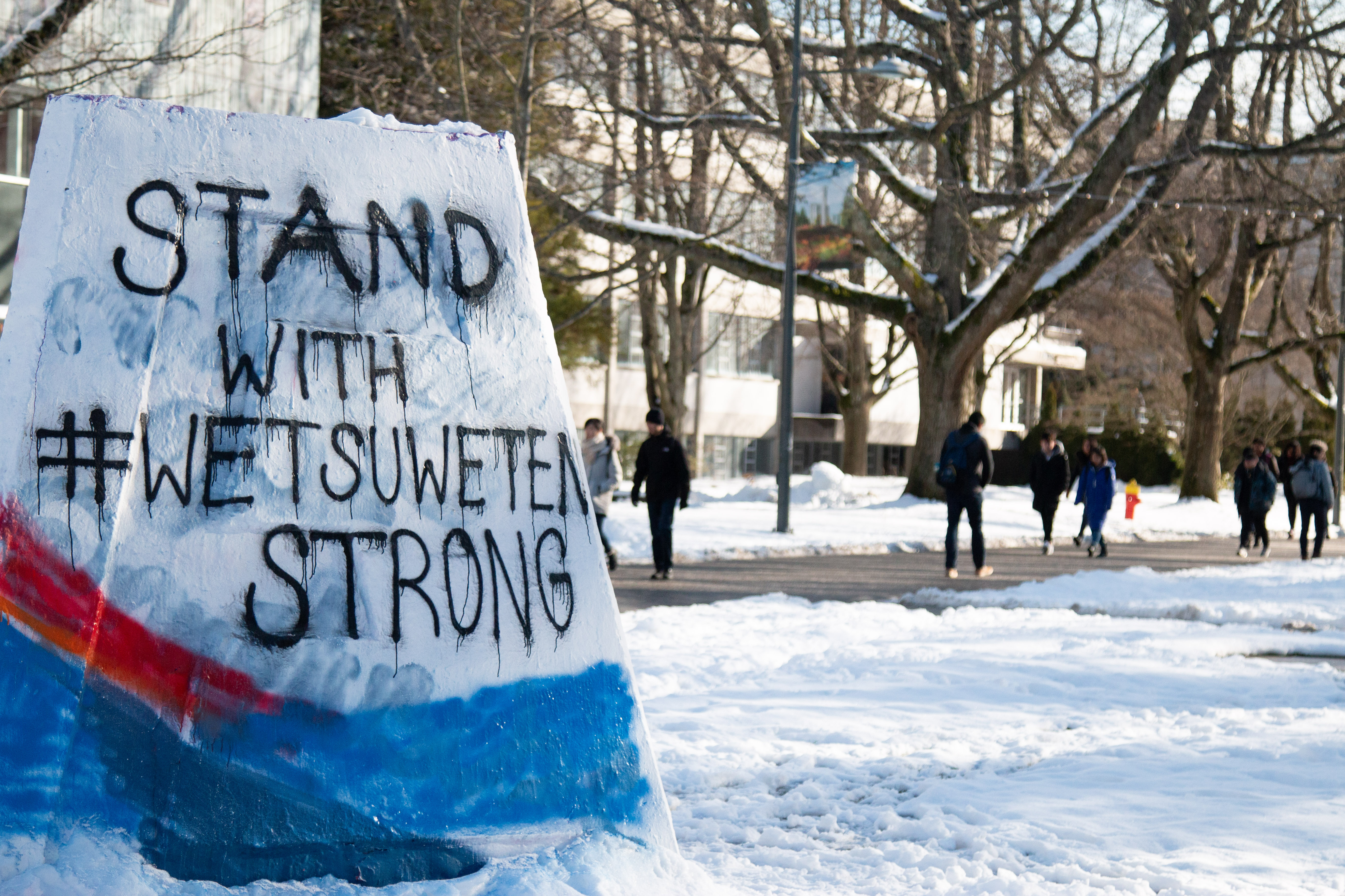 Student painted the Cairn to show solidarity with Wet'suwet'en.
