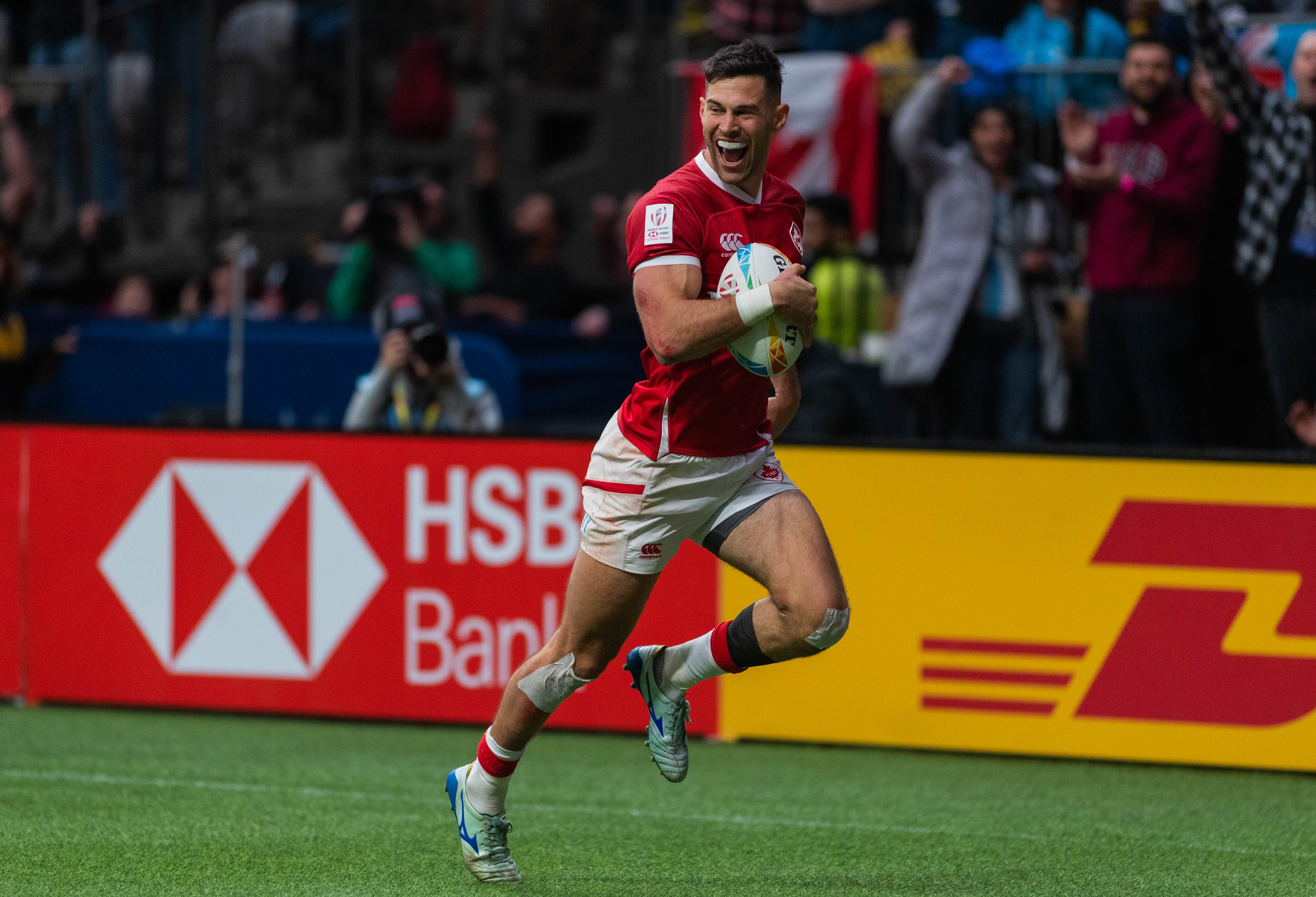It was all smiles en route to another try for Canada.