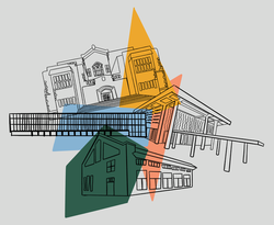 Commemorative buildings collage