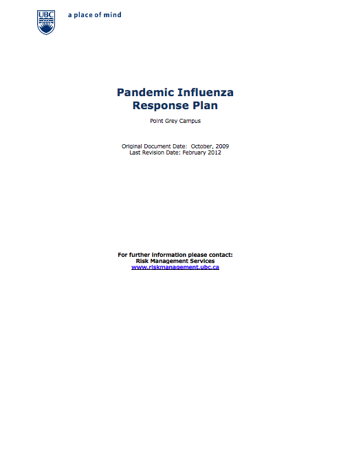 Screenshot of UBC's Pandemic Influenza Response Plan