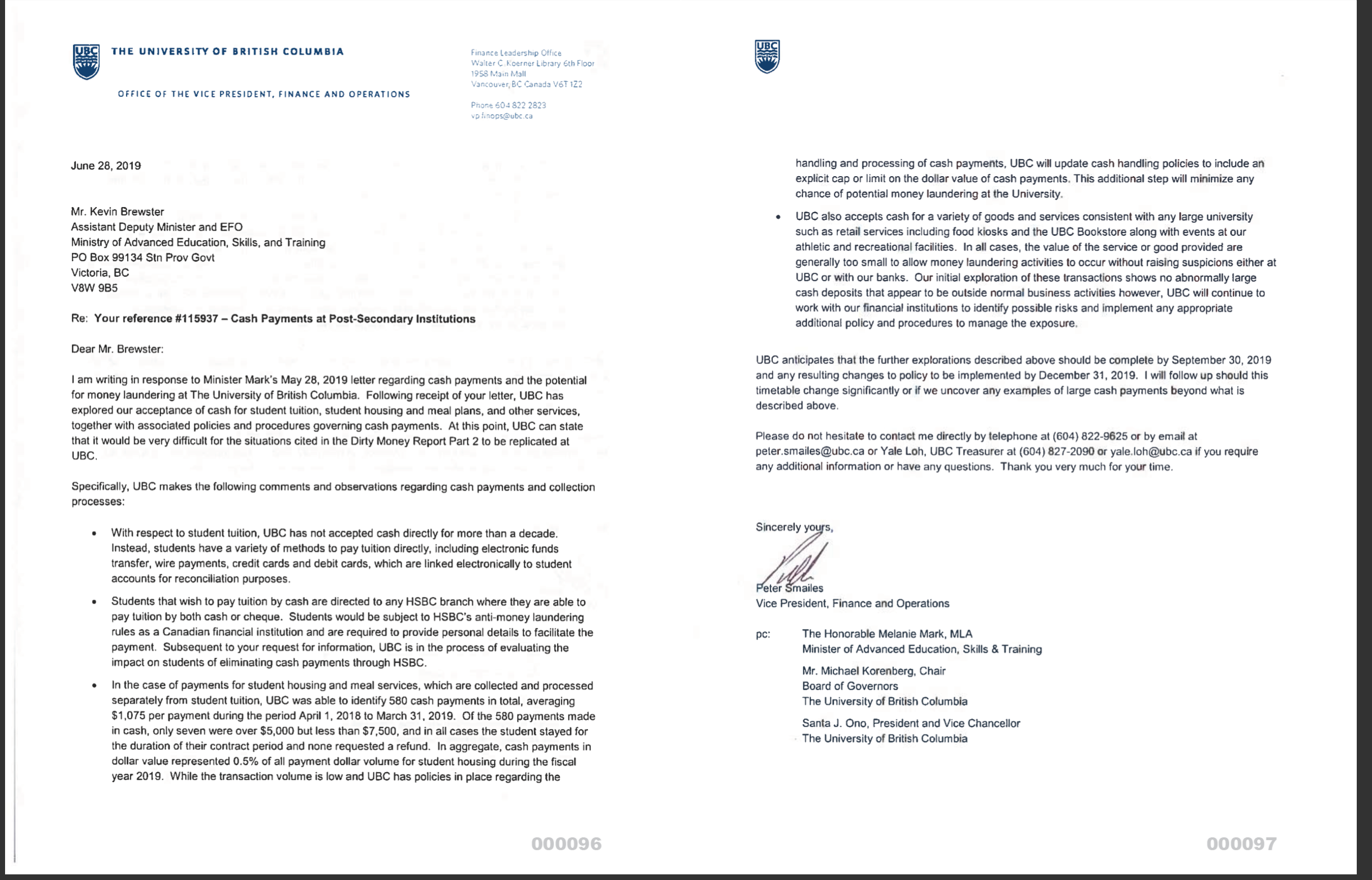 UBC VP Finance Peter Smailes responded to Minister Melanie Mark's letter in June 2019.