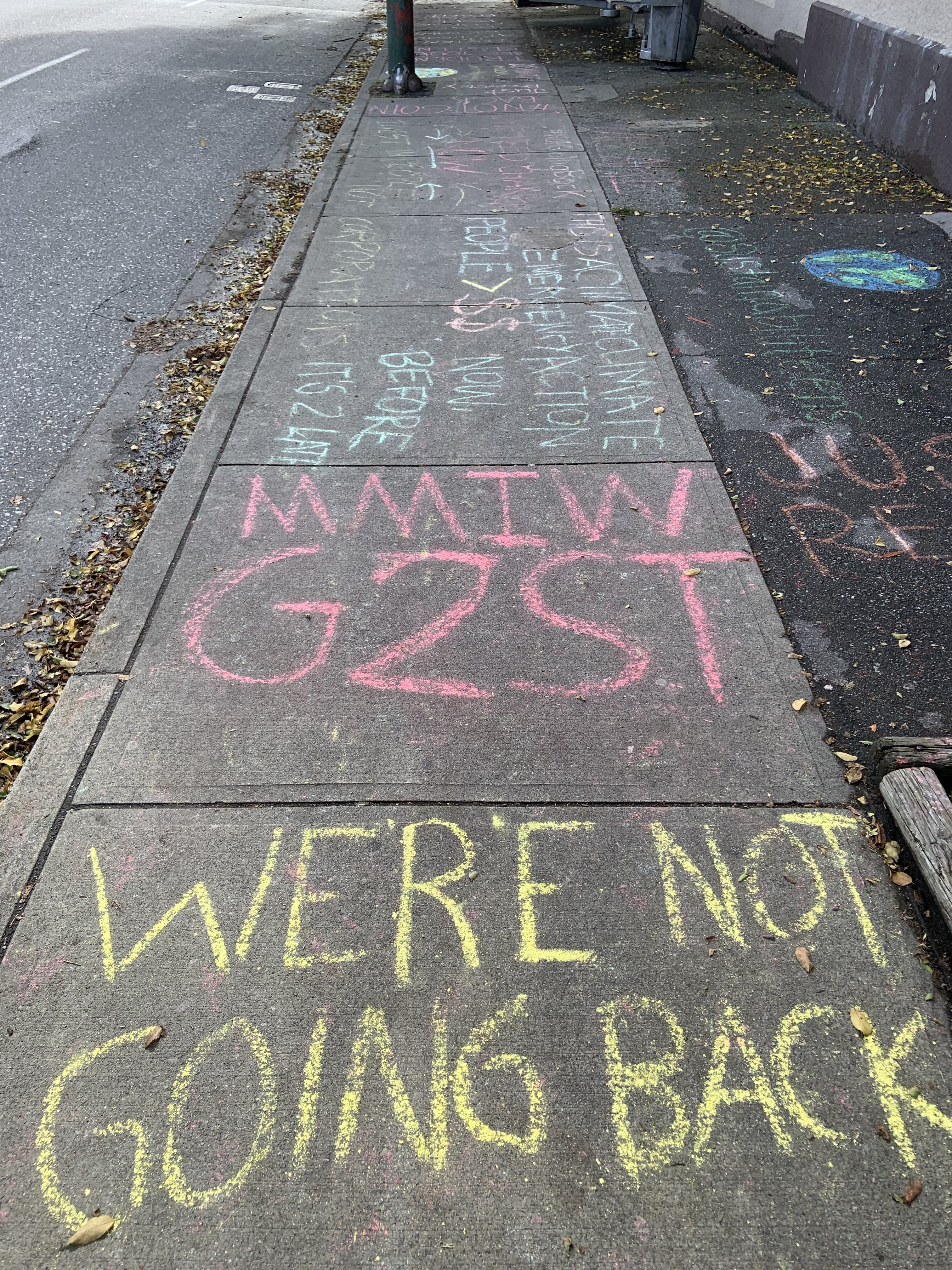 The sidewalk in front of Joyce Murray's Broadway office today.