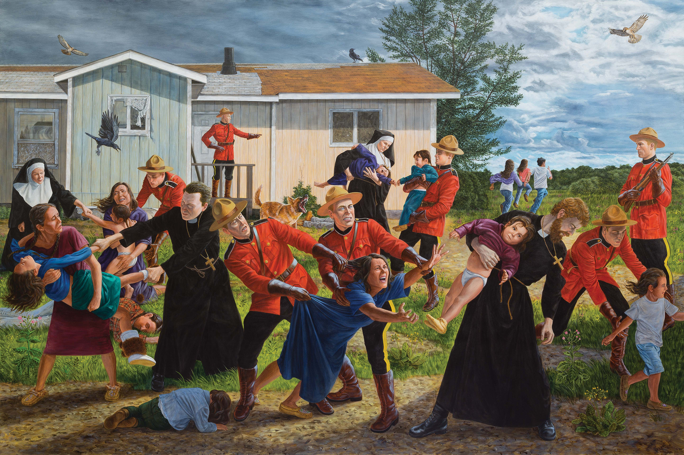 It is a violent (and accurate) portrayal of Indigenous children being taken by Christian missionaries to residential schools.