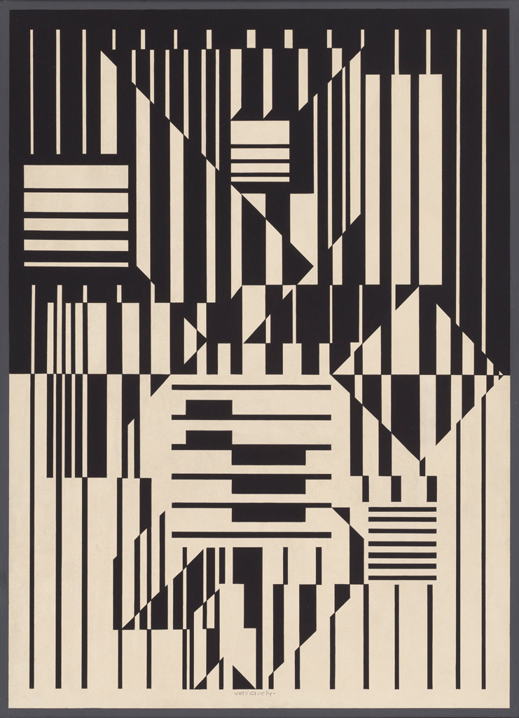 Victor Vasarely CALCIS, 1959 oil on wood composite board Collection of the Vancouver Art Gallery Gift of the Estate of Kathleen E. Reif © Estate of Victor Vasarely/ SOCAN (2020)