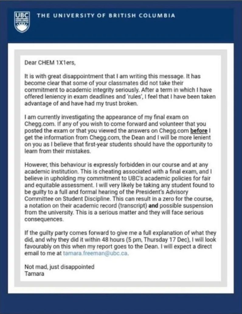 Screenshot of Freeman's email.
