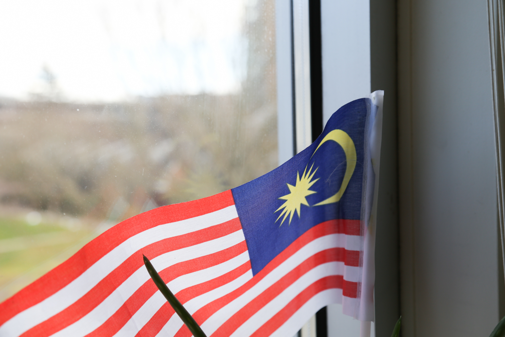A Malaysian flag stands in the corner of Lee's room, where the window meets her work desk.