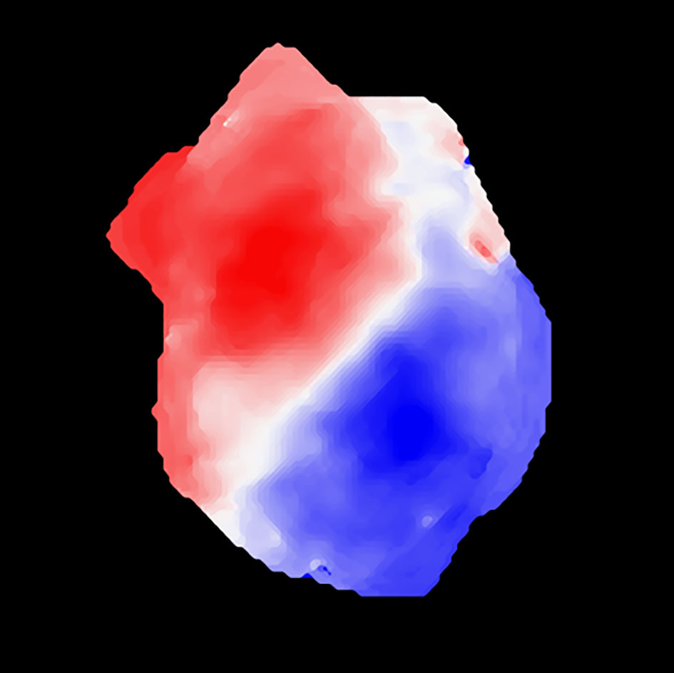 The gas indicated by red is moving away from us, while the gas indicated by blue is moving toward us. This suggests the galaxy is rotating.