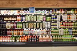 Fridge groceries juice and dressing