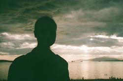 Silhouette of person at the beach
