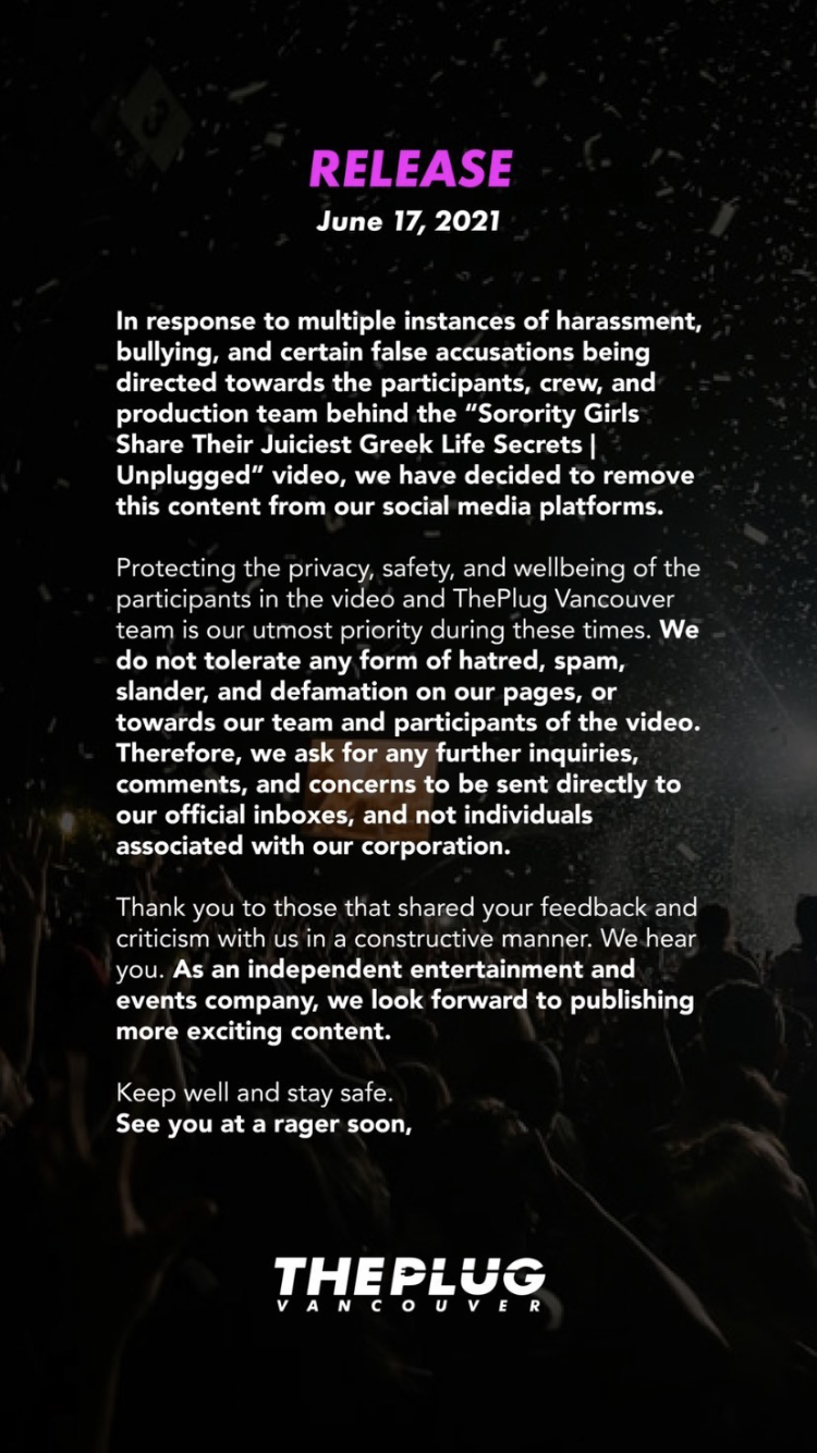 ThePlug Vancouver's initial statement on the video.