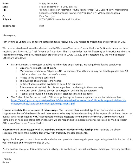 An email about Dr. Bonnie Henry receiving emails related to UBC fraternity rush events.